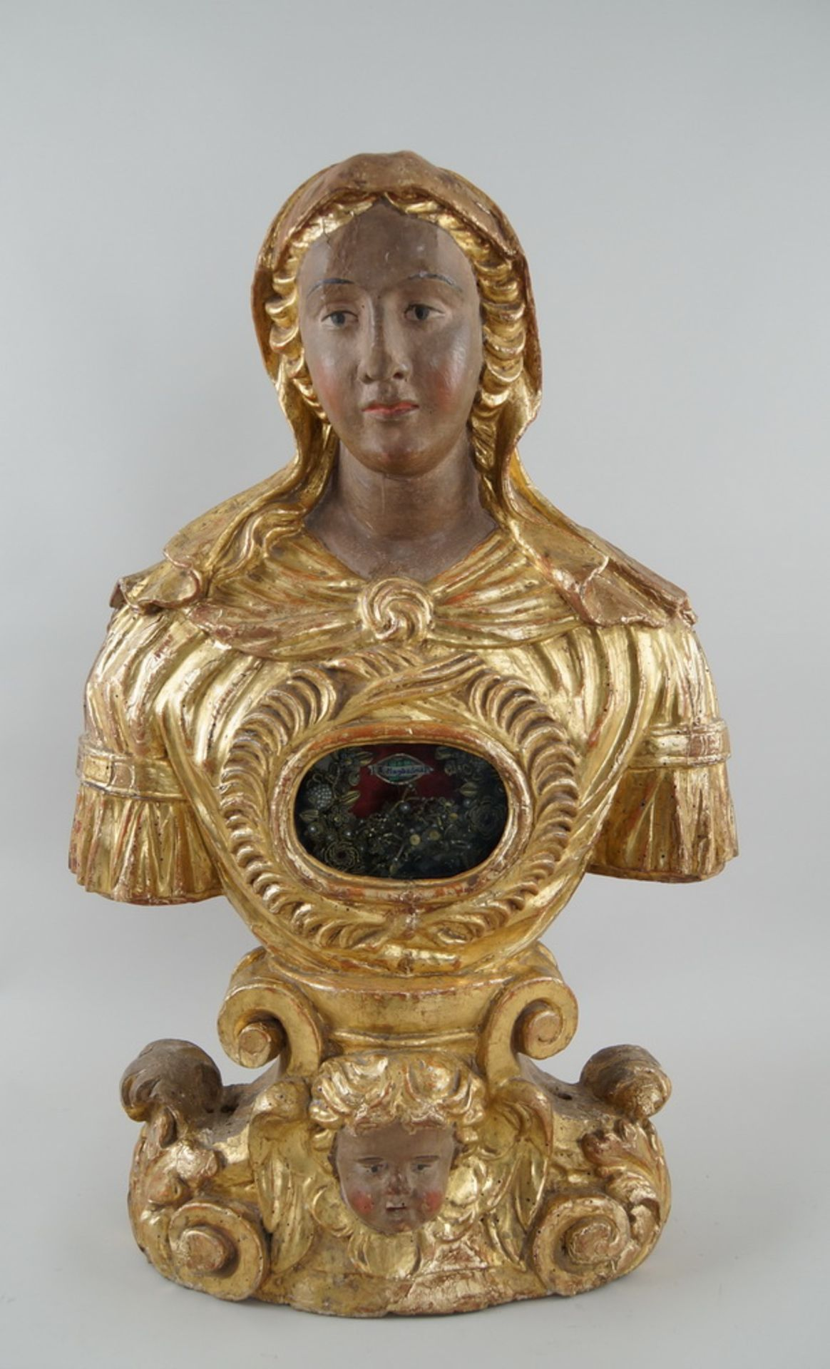 Prunkvolle Reliquienskulptur, Büste auf prächtigem Sockel, Holz geschnitzt, gefasst und - Bild 2 aus 9