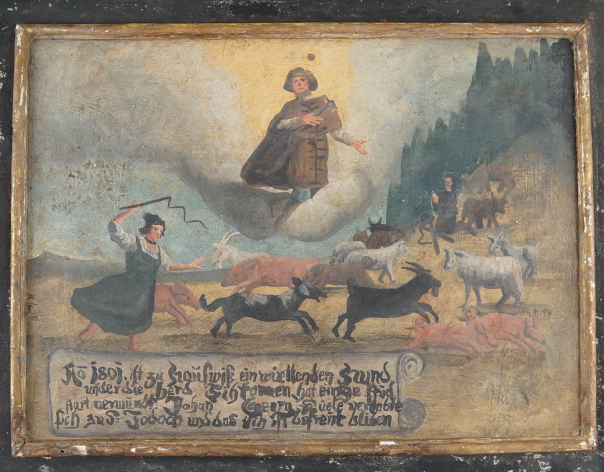Grosse Votivtafel, Holz bemalt, datiert 1801 mit Sinnspruch, 45,5x58cm - Bild 2 aus 5