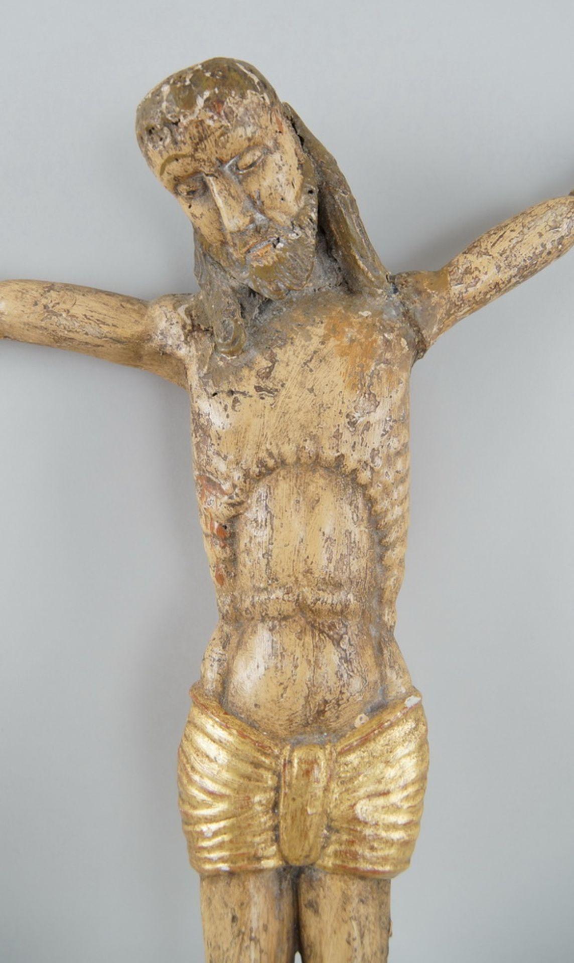 Los 17 - Gotischer Korpus Christi, Holz geschnitzt und gefasst, alte Restaurierungen, 66x64cm