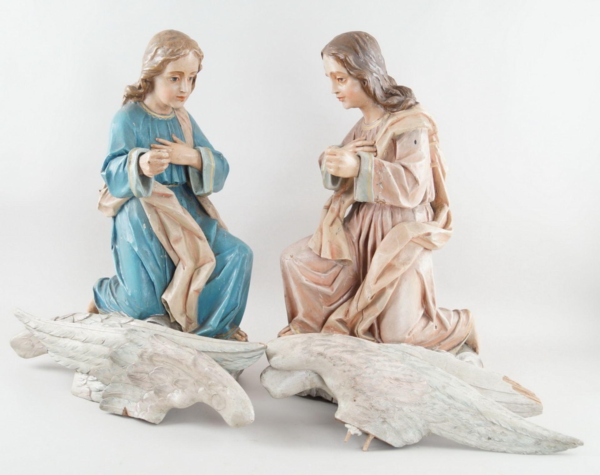 Zwei kniende Engel mit Flügel, 18. JH, Holz geschnitzt und gefasst, rest.-bed., H je 73cm - Bild 6 aus 15