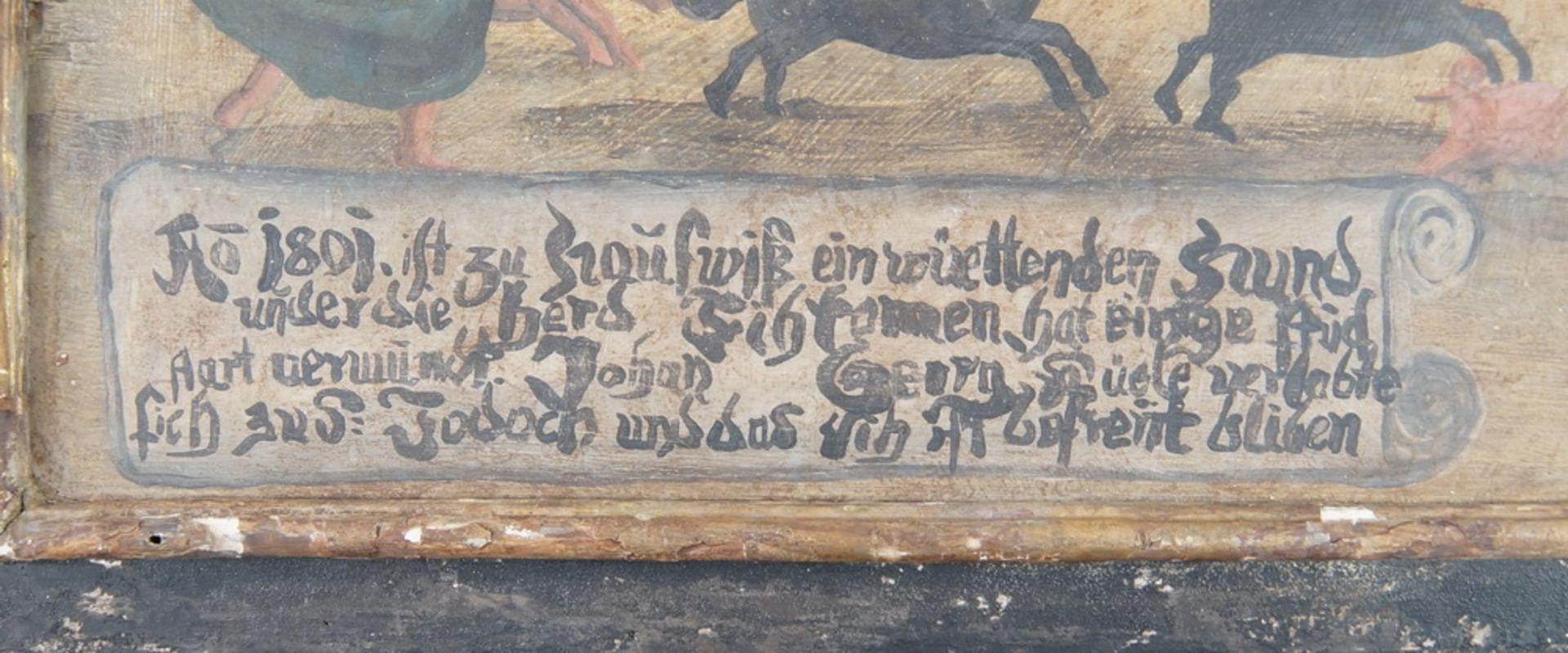 Grosse Votivtafel, Holz bemalt, datiert 1801 mit Sinnspruch, 45,5x58cm - Bild 3 aus 5