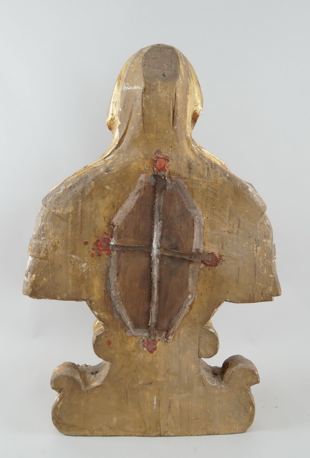 Prunkvolle Reliquienskulptur, Büste auf prächtigem Sockel, Holz geschnitzt, gefasst und - Bild 9 aus 9