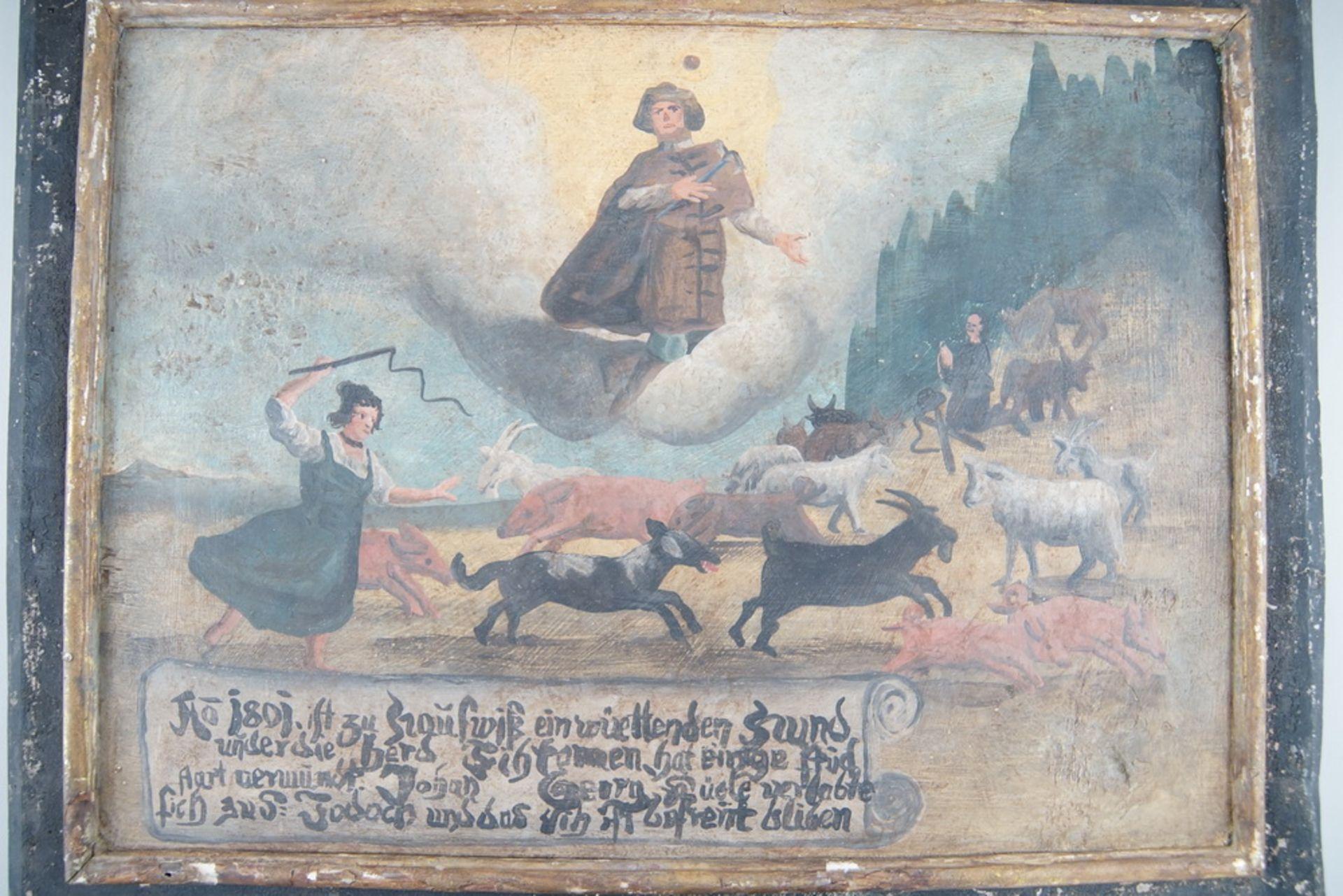 Grosse Votivtafel, Holz bemalt, datiert 1801 mit Sinnspruch, 45,5x58cm - Bild 4 aus 5