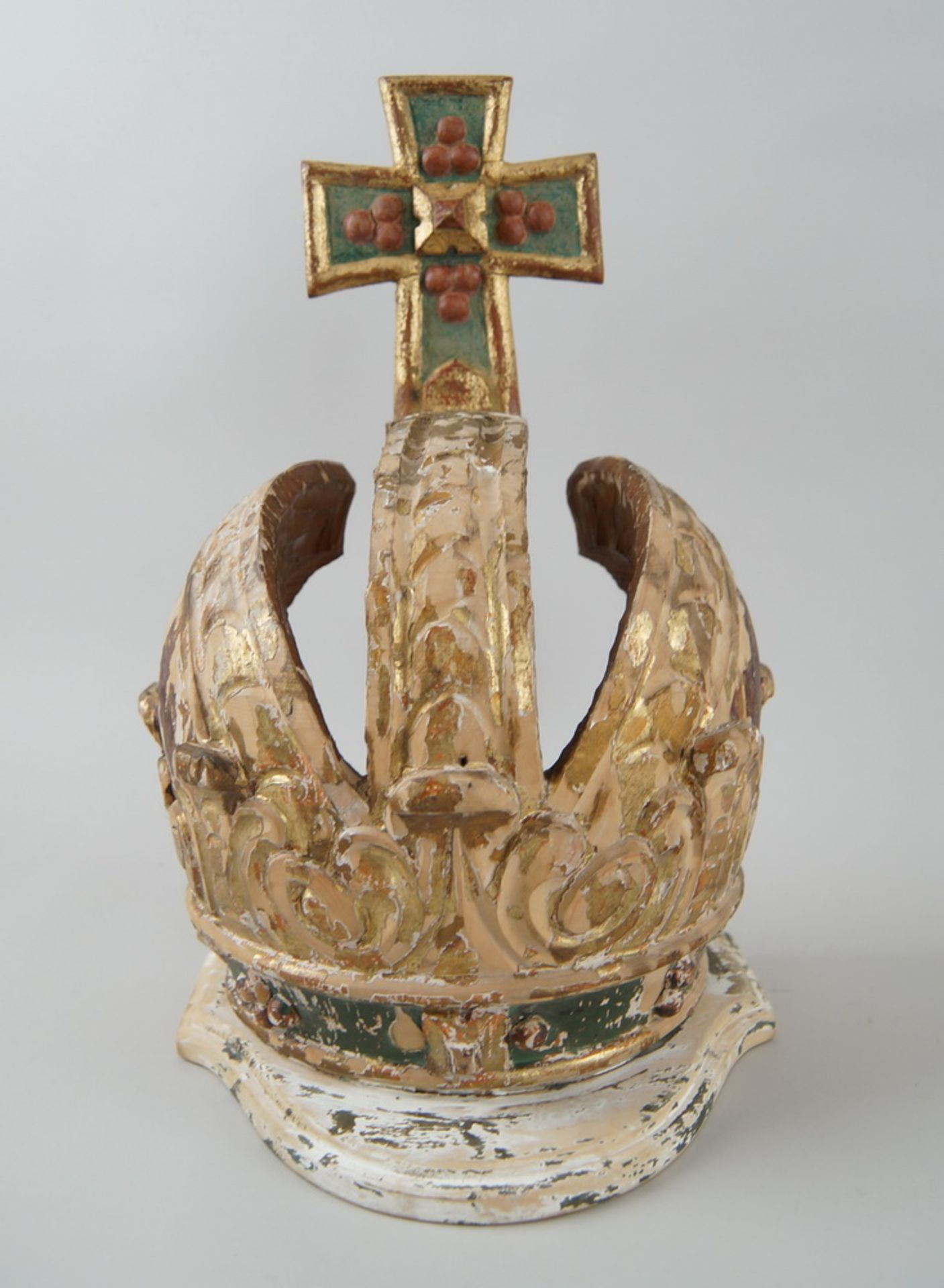Prunkvolle Krone, Holz geschnitzt und gefasst/vergoldet, Fassung altersbedingt beschädigt,18. JH, - Bild 3 aus 6