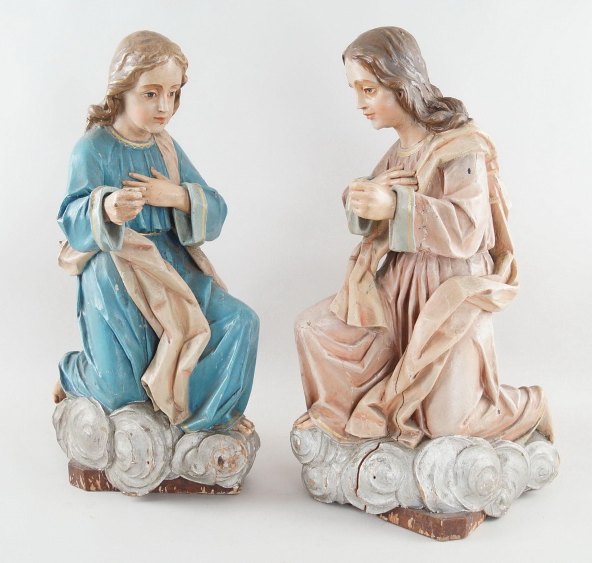 Zwei kniende Engel mit Flügel, 18. JH, Holz geschnitzt und gefasst, rest.-bed., H je 73cm - Bild 2 aus 15