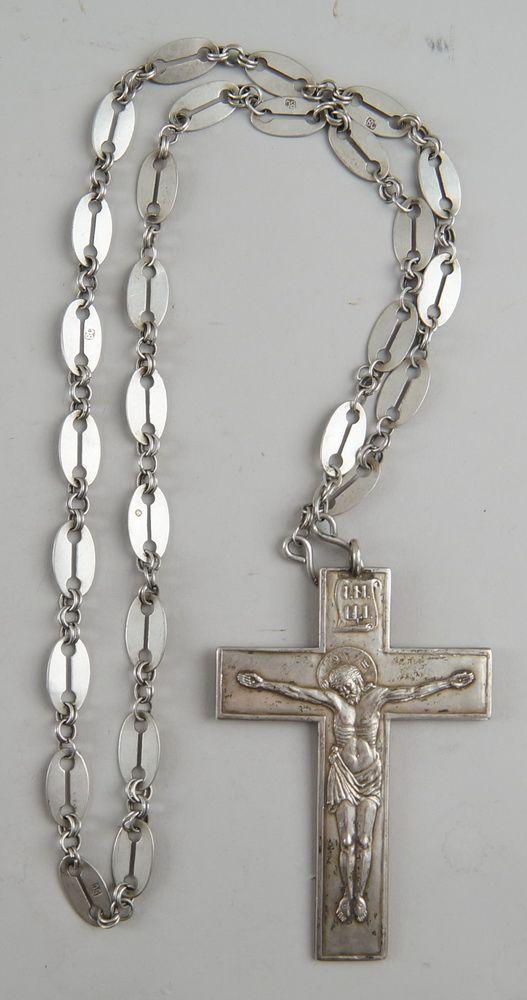 Kette mit Kreuz, Russland, mehrfach gepunzt, 10x7,4cm