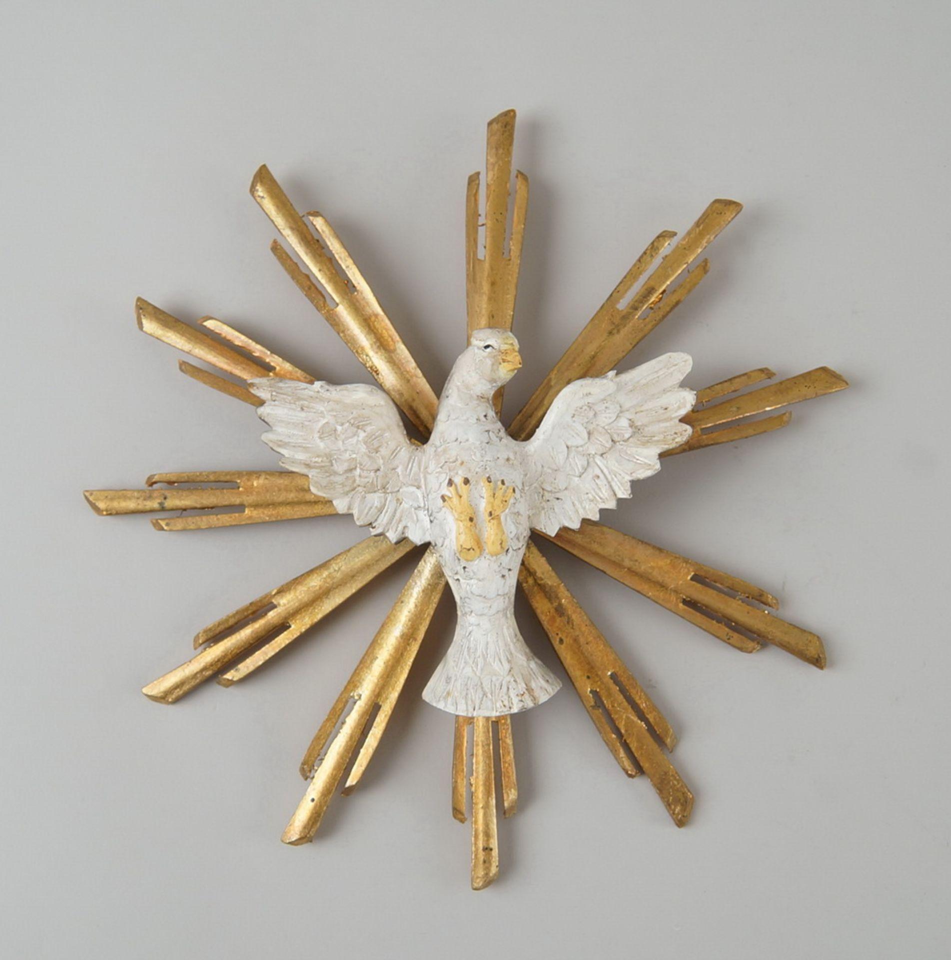 Los 1 - Kleiner heiliger Geist, Holz geschnitzt und gefasst mit prunkvollem Strahlenkranz,Durchmesser 26,5