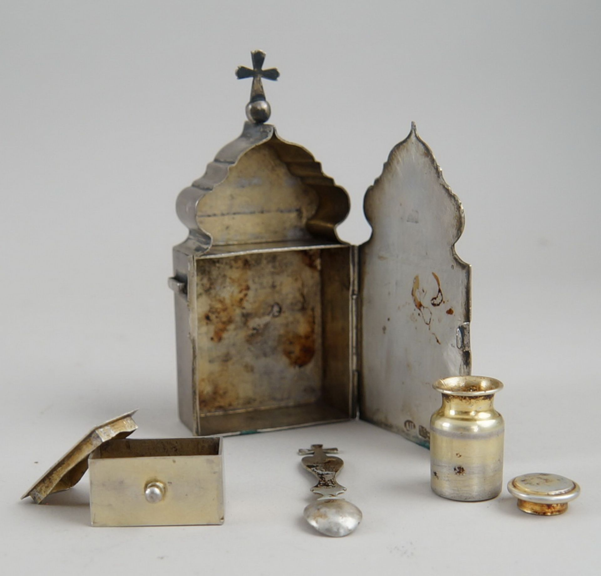 Los 2 - Kleiner Reisealtar, Weissmetall, Russland, gepunzt, graviert, 10,5x5x2,5cm