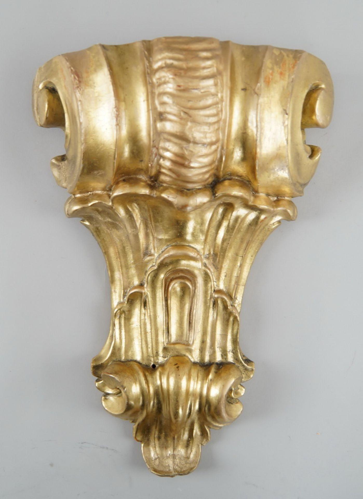Los 29 - Prunkvolle Wandkonsole, Holz geschnitzt und vergoldet, 40x30x11cm