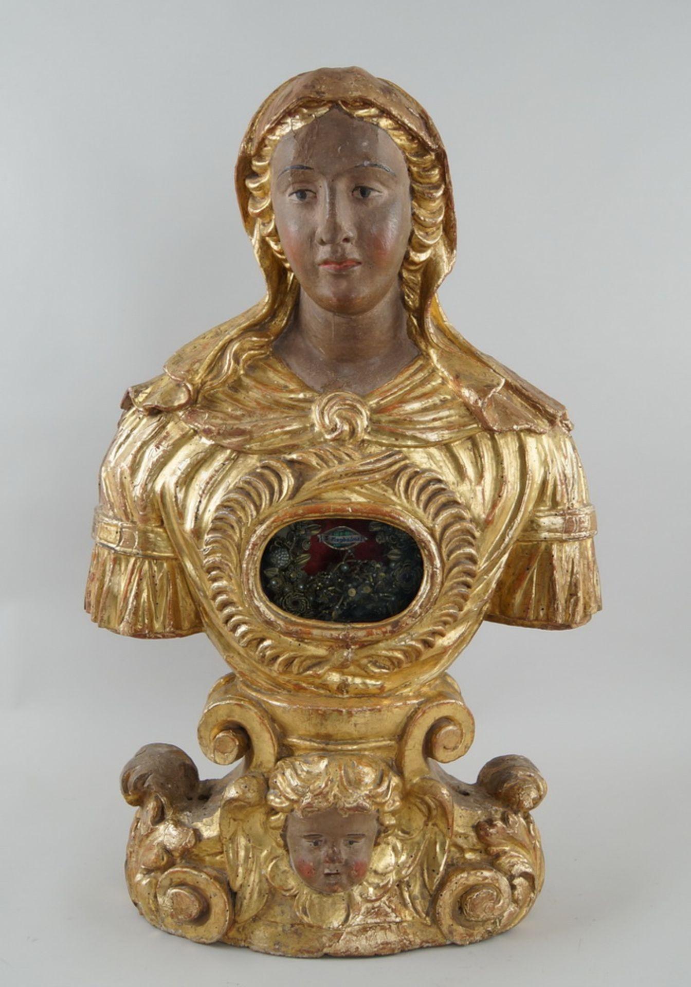 Prunkvolle Reliquienskulptur, Büste auf prächtigem Sockel, Holz geschnitzt, gefasst und