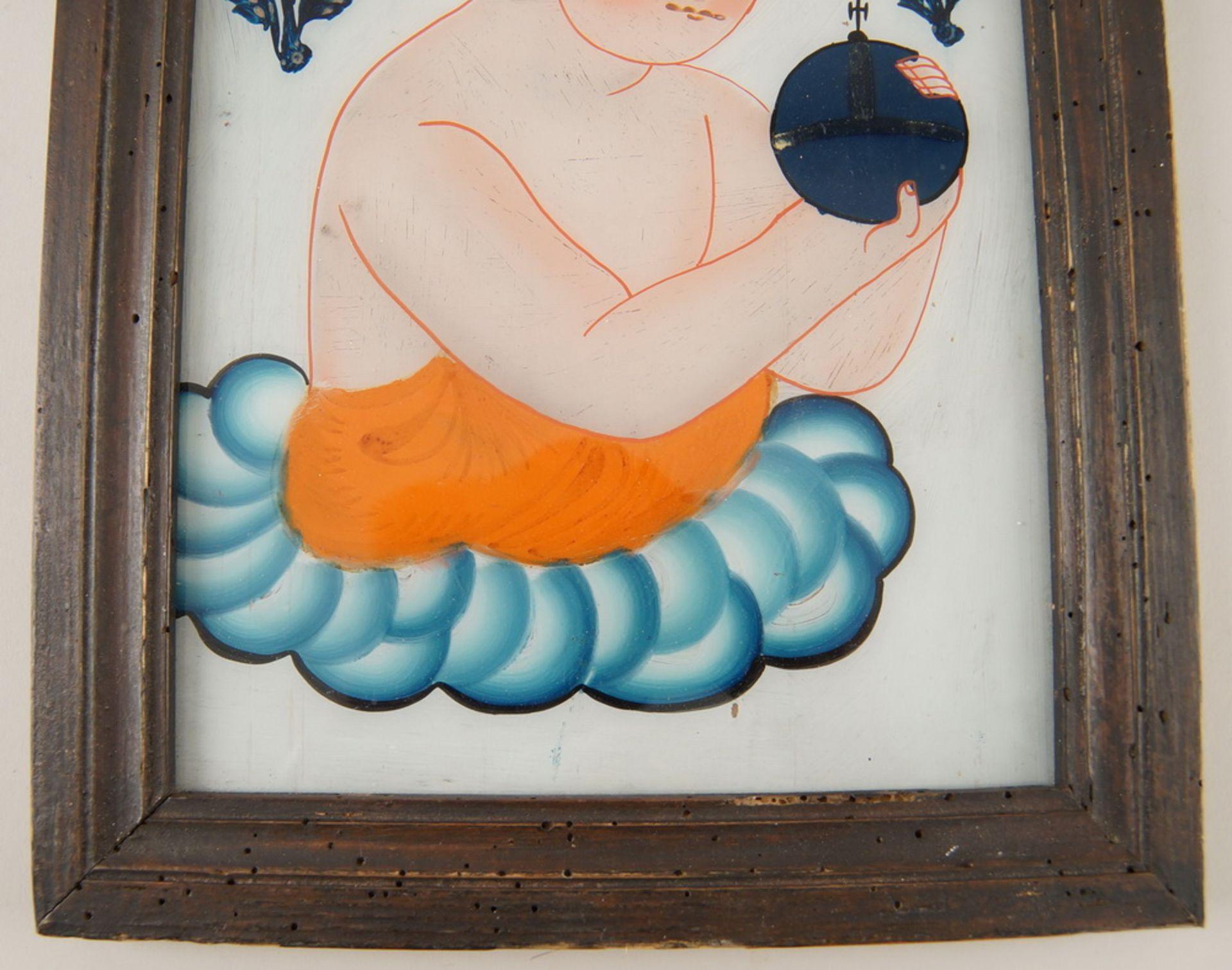 Hinterglasbild / Hinterglasmalerei, Jesuskind, mit Holzrahmen, 30,5x22,5cm - Bild 3 aus 5