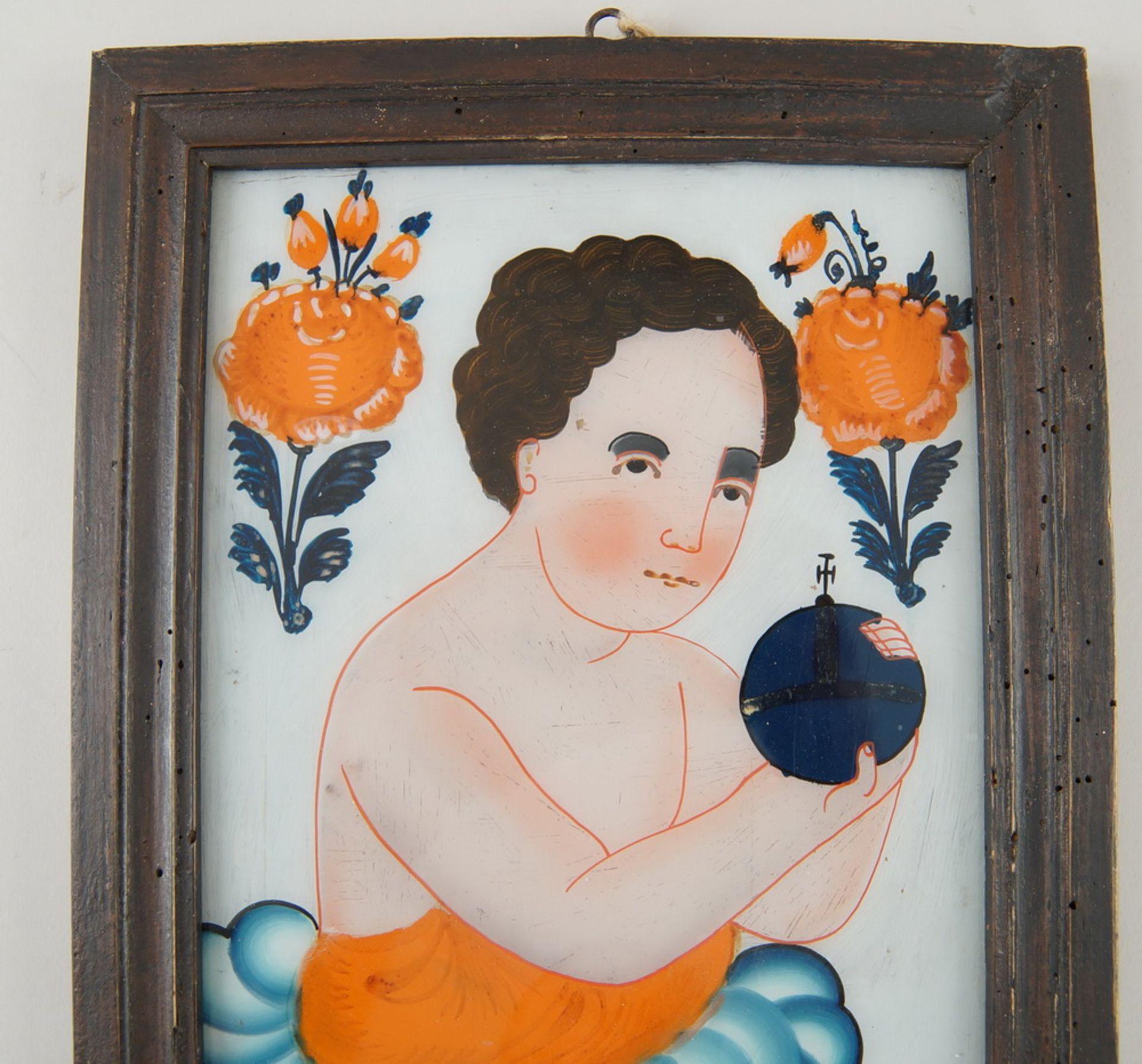 Hinterglasbild / Hinterglasmalerei, Jesuskind, mit Holzrahmen, 30,5x22,5cm - Bild 4 aus 5