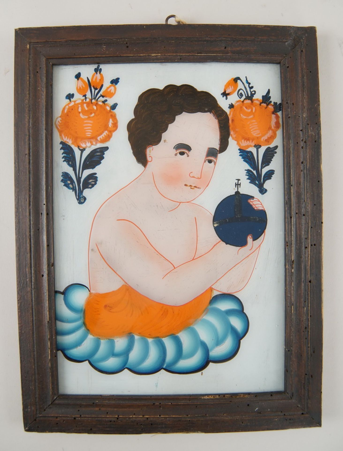 Hinterglasbild / Hinterglasmalerei, Jesuskind, mit Holzrahmen, 30,5x22,5cm - Bild 2 aus 5