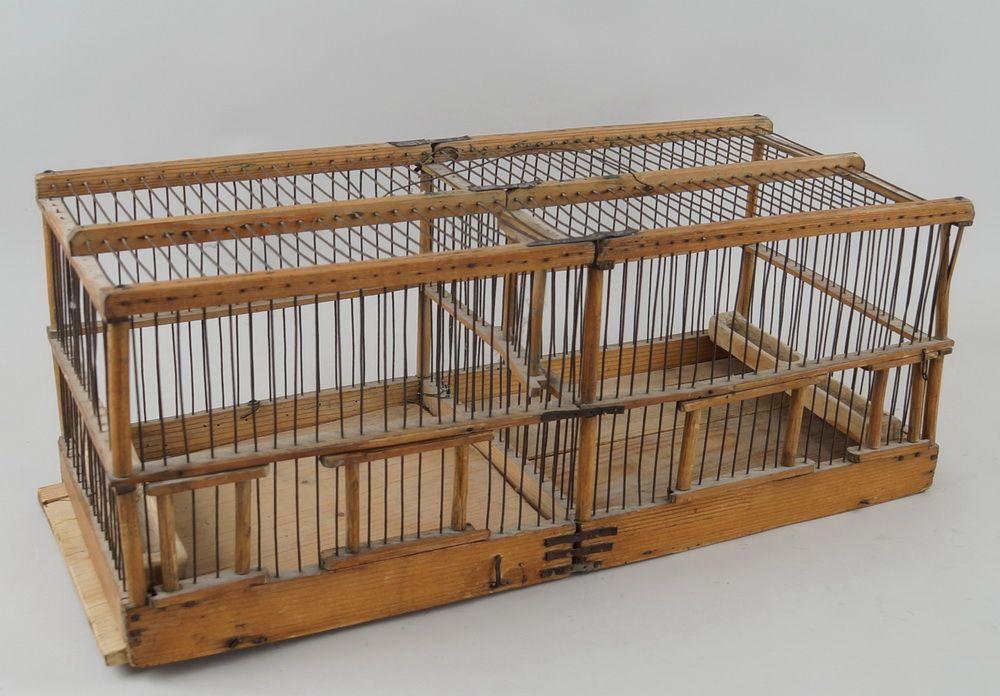 Tiroler Vogelkäfig, Holz mit Metallmontierung, um 1800, 24x60x25cm