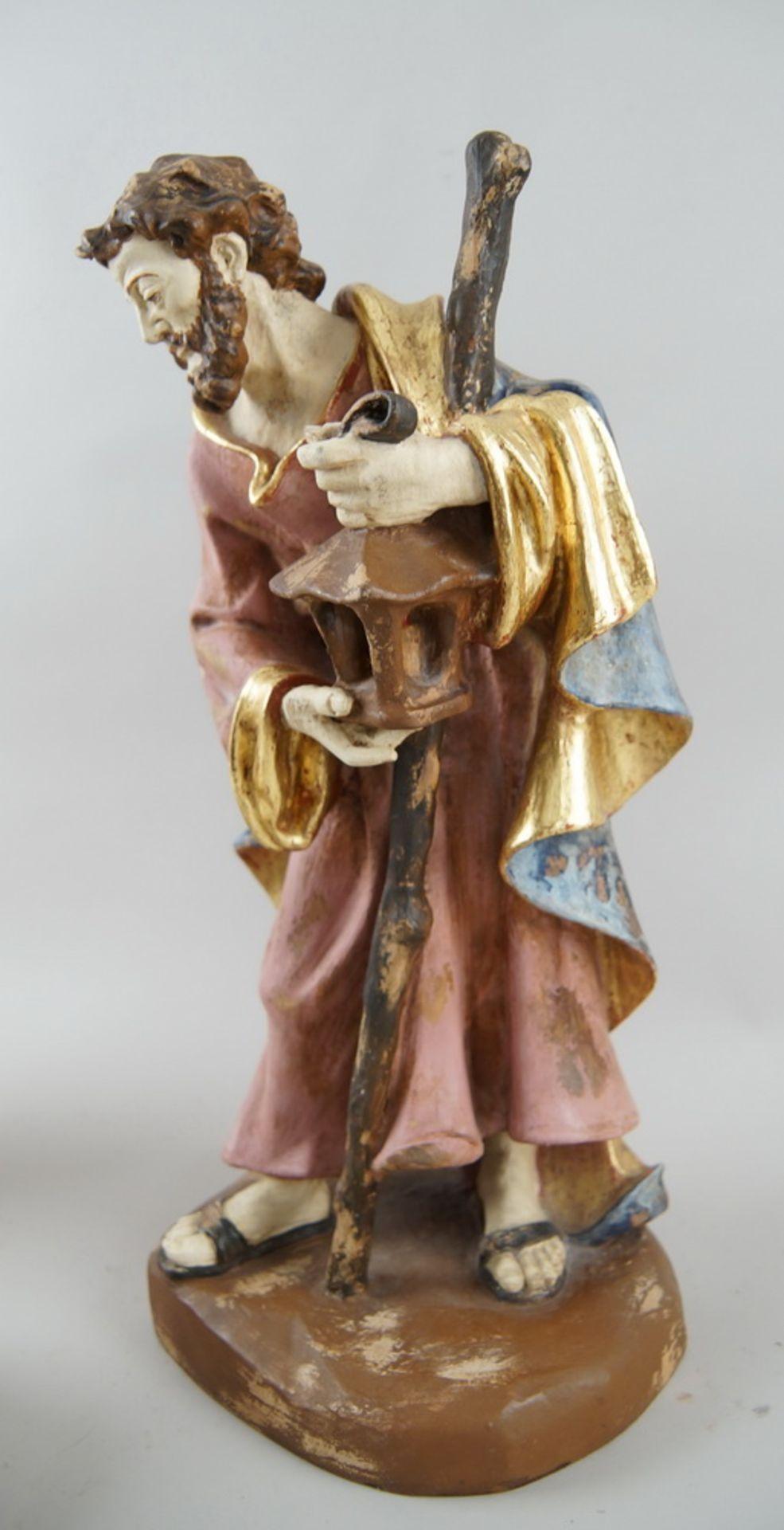 Los 56 - Krippenfiguren, die heilige Familie, Maria, Josef und das Jesuskind, Holz geschnitzt undgefasst,