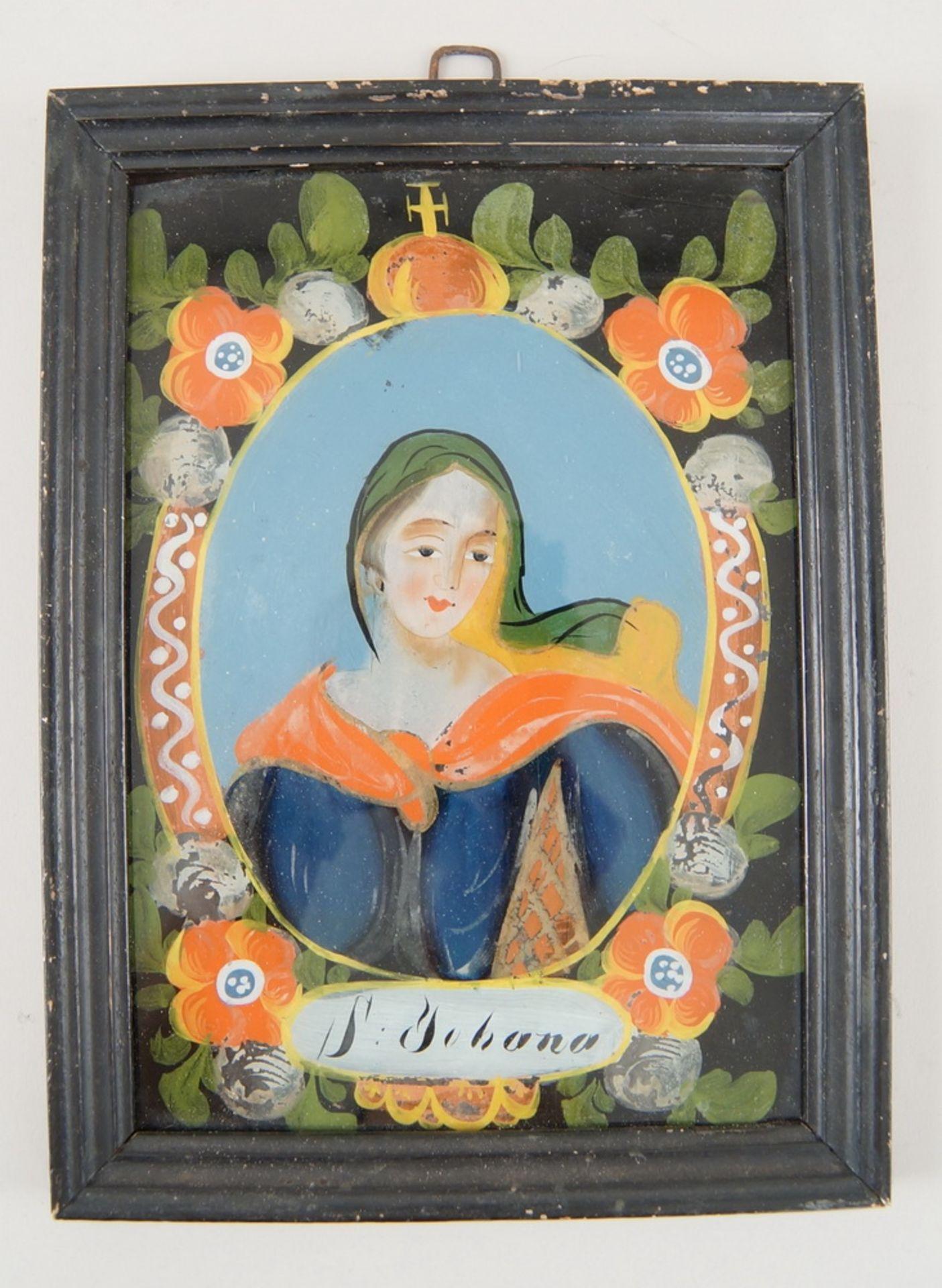 Los 58 - Hinterglasbild / Hinterglasmalerei, heilige Johanna (S. Johana), mit Holzrahmen, 24,5x18cm
