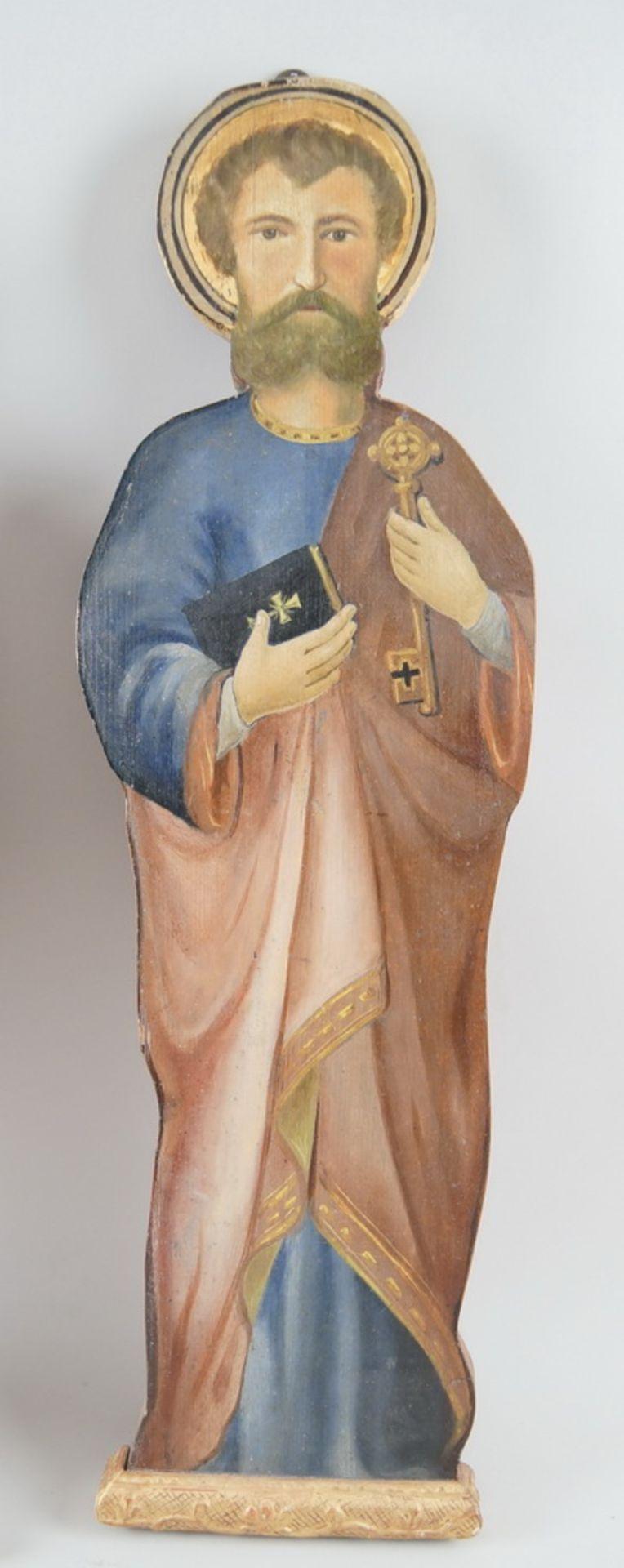 Los 14 - Peter und Paul, heiliger Petrus und Paulus, bemalte Holztafeln, 19. JH, geschnitzt, H 68cm