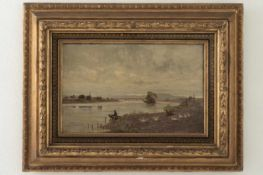 Landscape painting in ornate frame