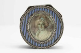 Silver box with miniature painting