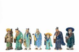 """Glasierte Tonfiguren """"die sieben Gelehrten"""""""