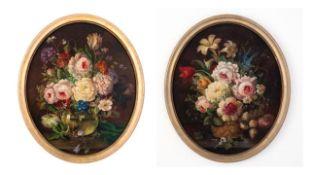 Paar ovale Blumengemälde