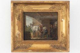 """Biedermeier Gemälde """"Pferde im Stall"""""""