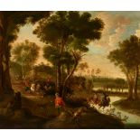 Jan HackaertHunting Party in a Wooded Landscape