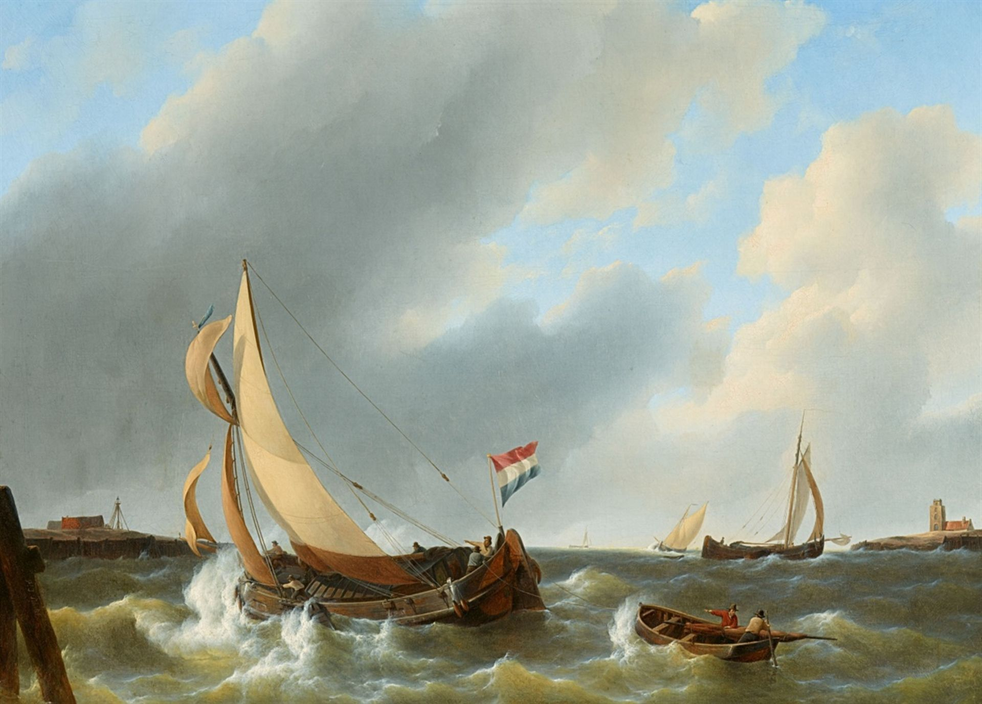 Los 2523 - Petrus Johannes SchotelFishermen Returning in Rough SeasOil on canvas (relined). 77 x 101 cm.