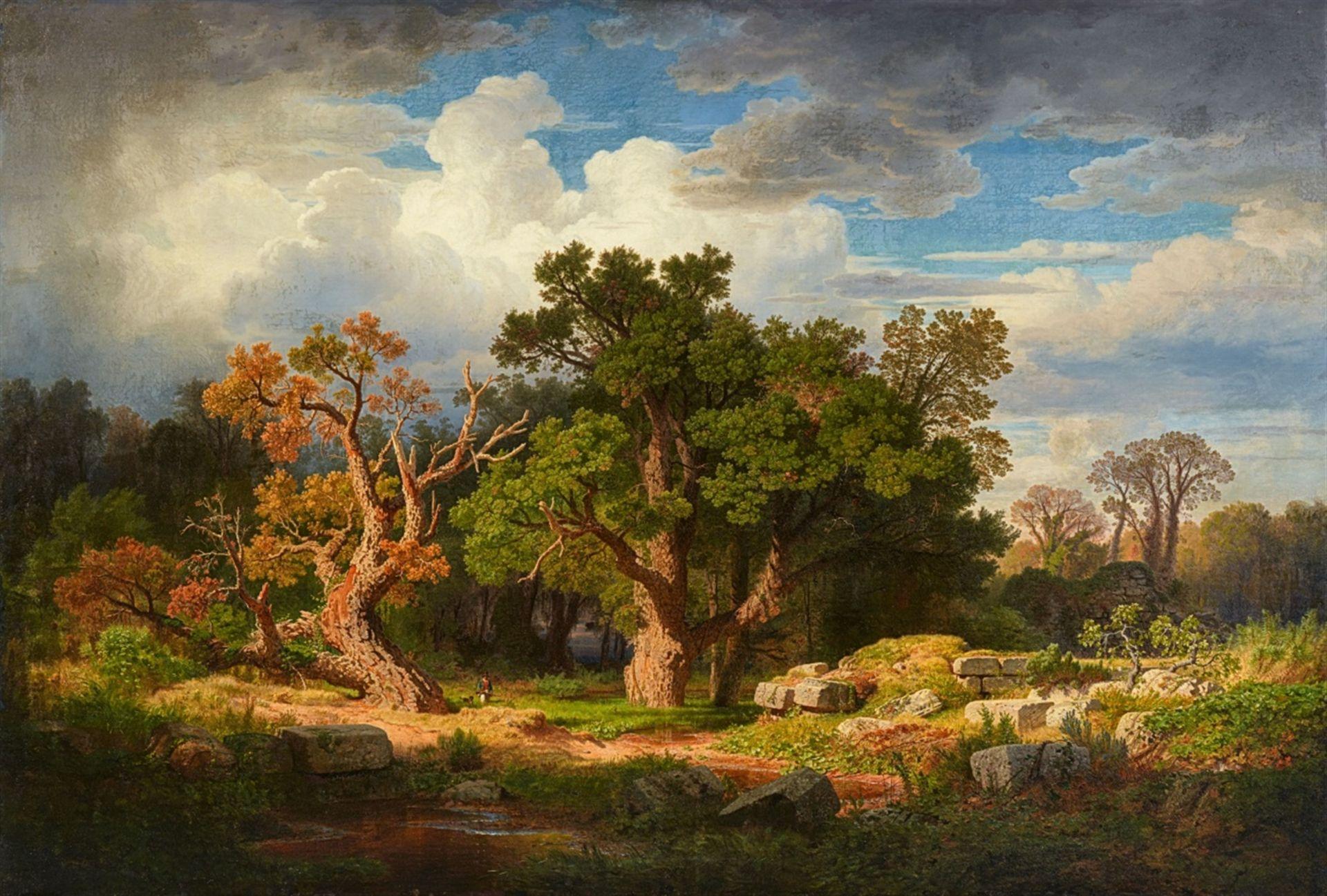 Los 2526 - Andreas AchenbachGroße Landschaft mit KorkeichenÖl auf Leinwand (doubliert). 160 x 234 cm.Signiert