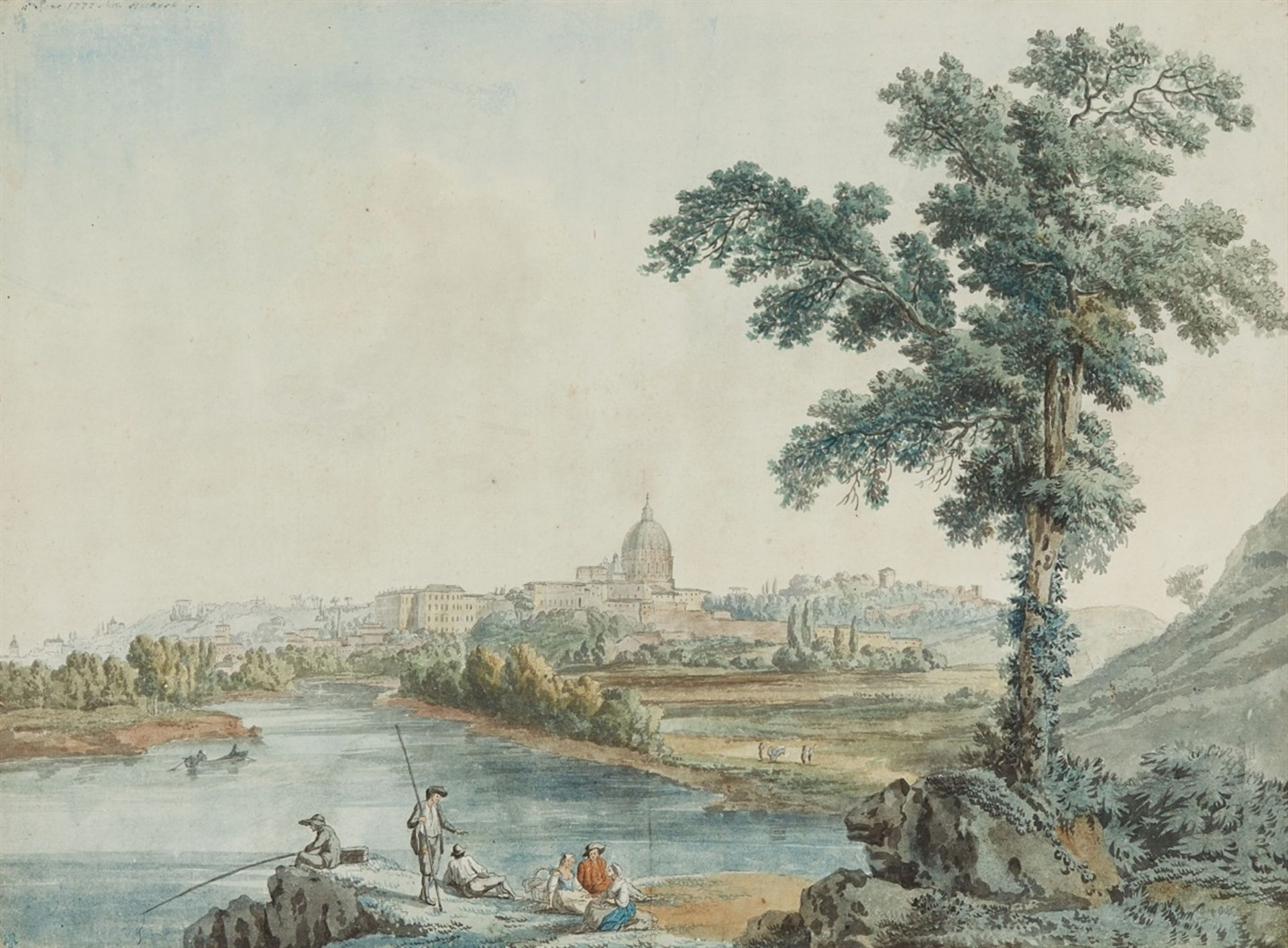 Los 2504 - Jacob Philipp HackertView of the River Tiber and Saint Peter's in RomeWatercolour on paper. 34 x