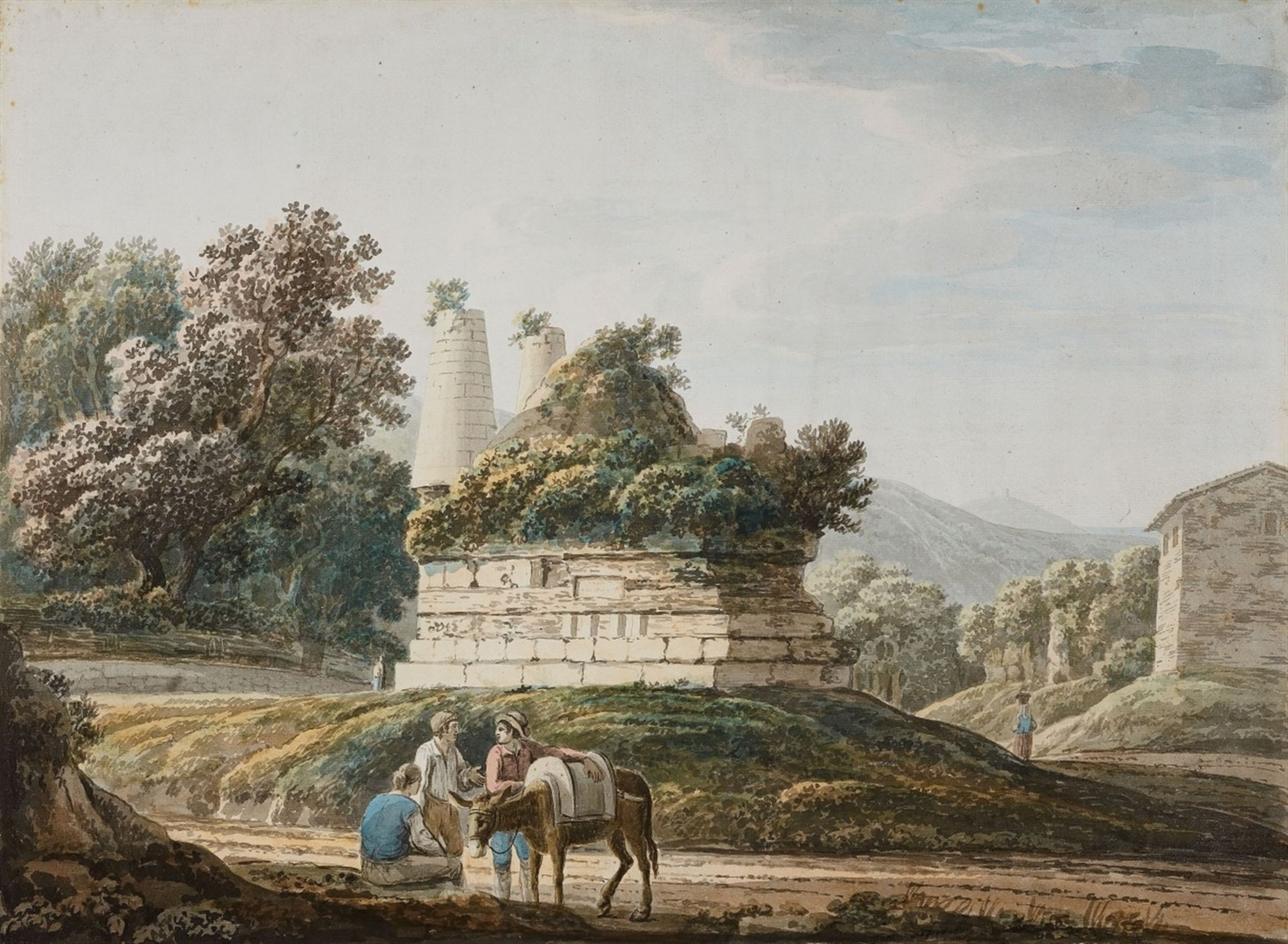 Los 2502 - Jacob MoreThe Tomb of the Horatii and Curiatii on the Via Appia near AlbanoWatercolour on paper.