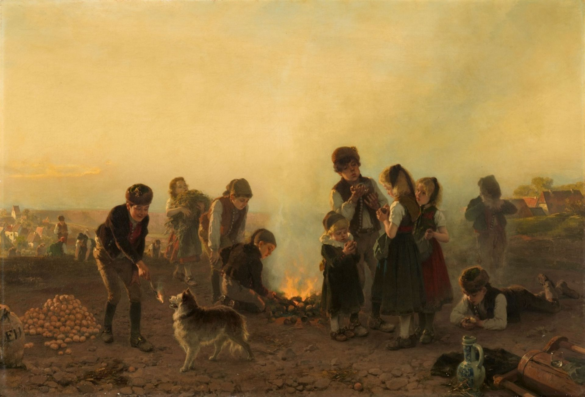Los 2552 - Friedrich HiddemannChildren Baking Potatoes over a Fire – possibly from a Series of the Four