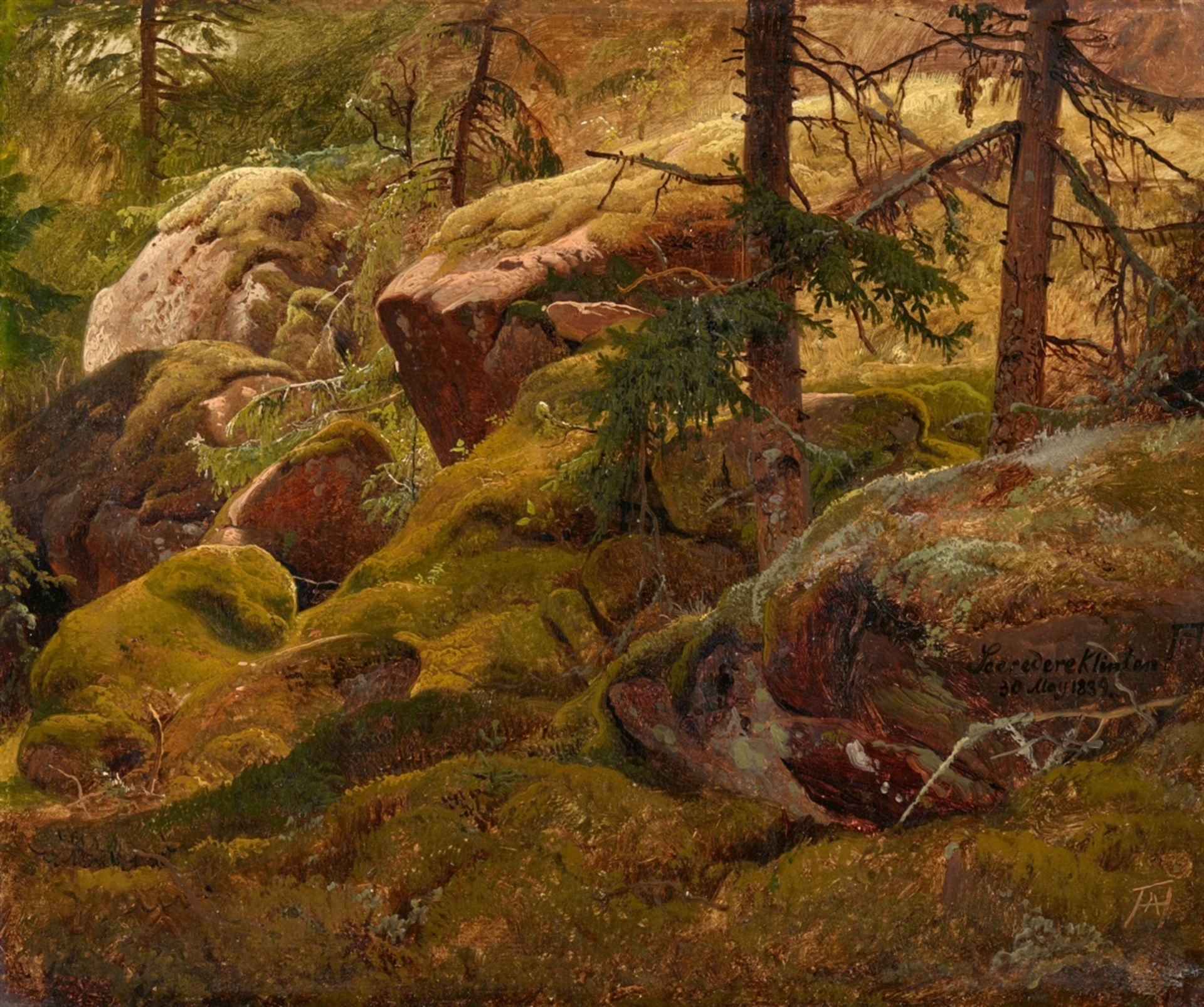 Los 2527 - Andreas AchenbachForest Landscape with Moss Covered Boulders – Sceredere KlintenOil on panel (