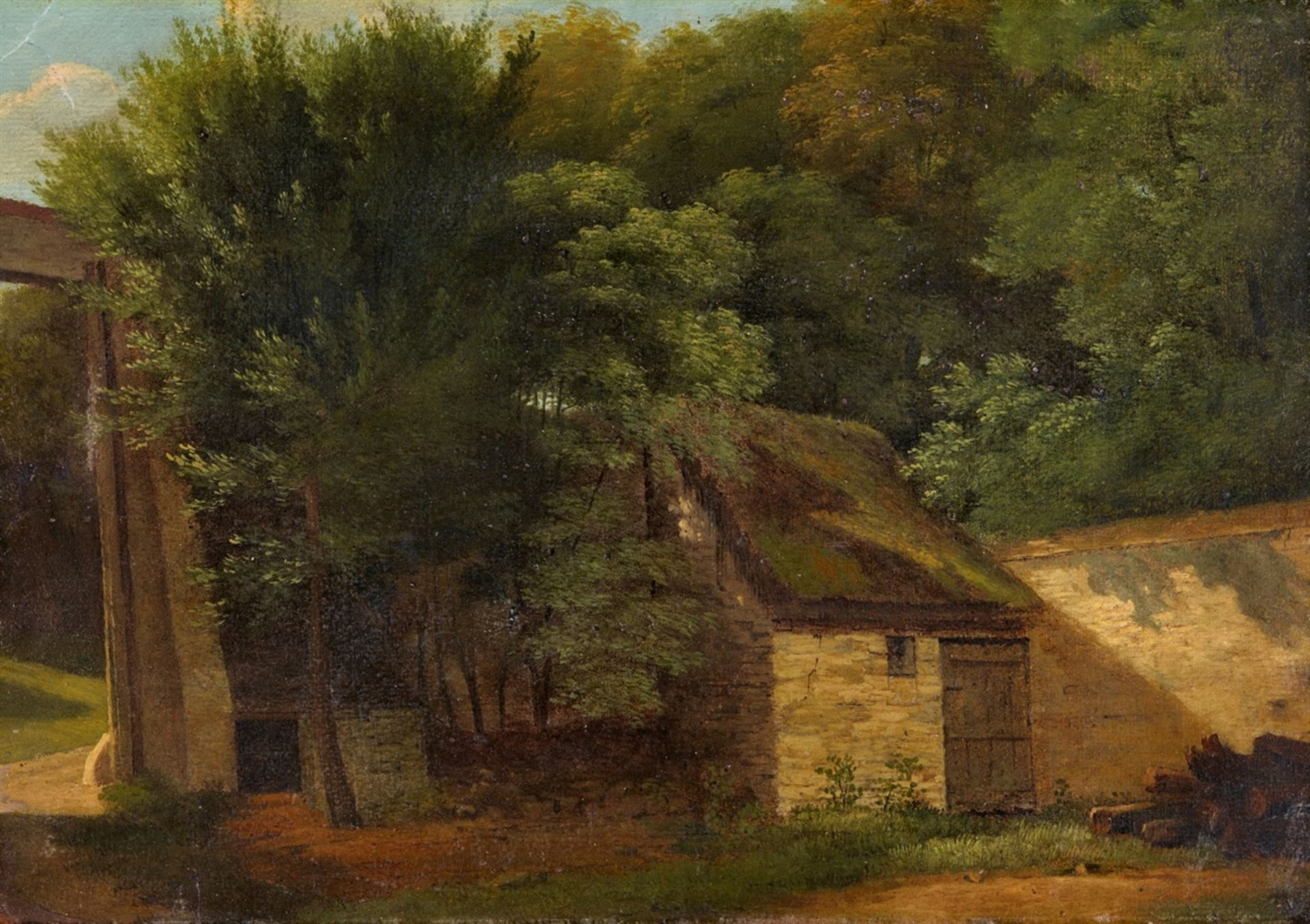 Los 2505 - Jean-Victor BertinThe Entrance to the Park Saint-Cloud in ParisOil on paper, mounted on canvas. 26.5