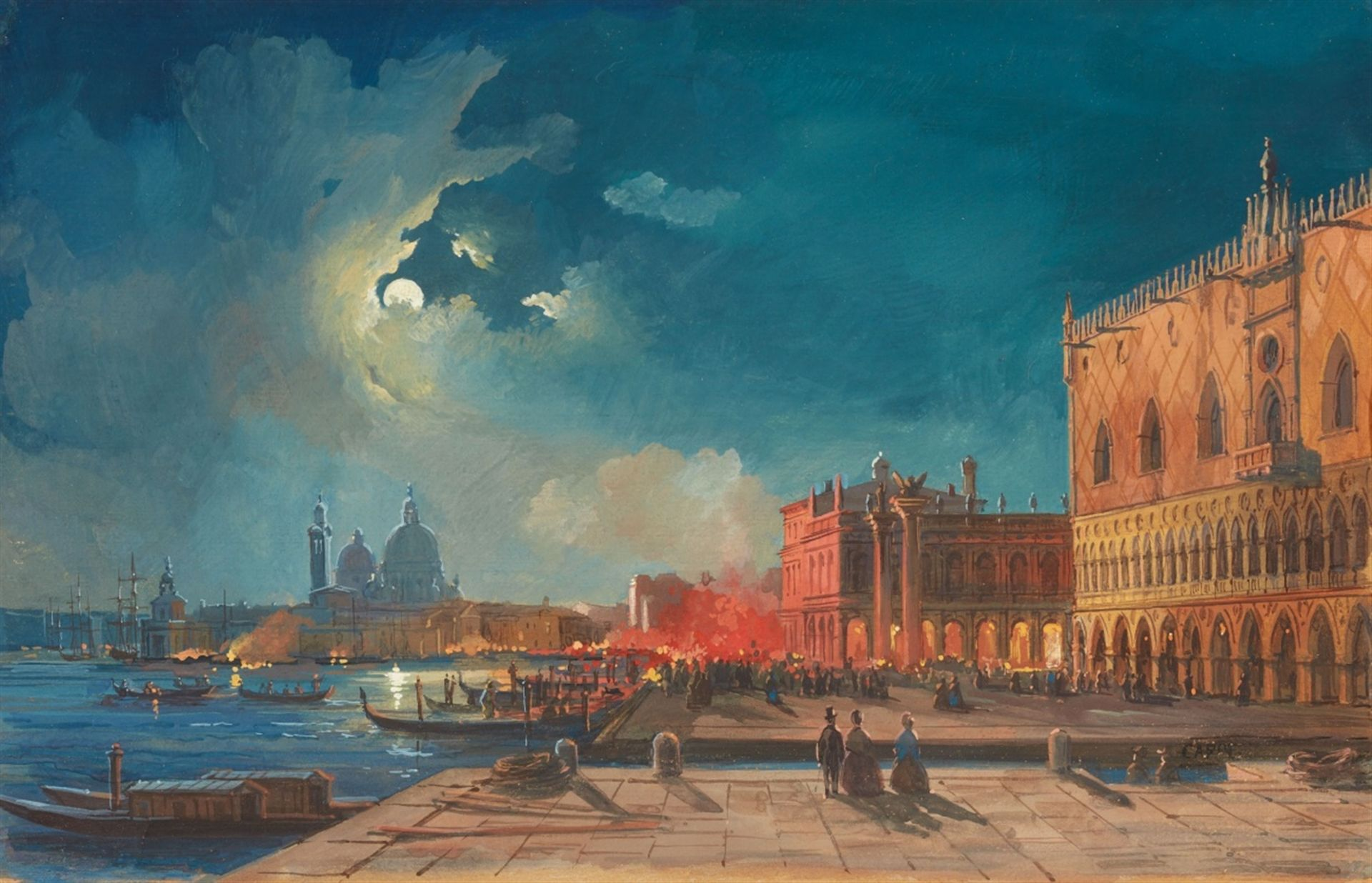 Los 2529 - Ippolito CaffiNight Bonfires on the Piazetta in VeniceGouache on paper. 18 x 27.5 cm.Signed lower