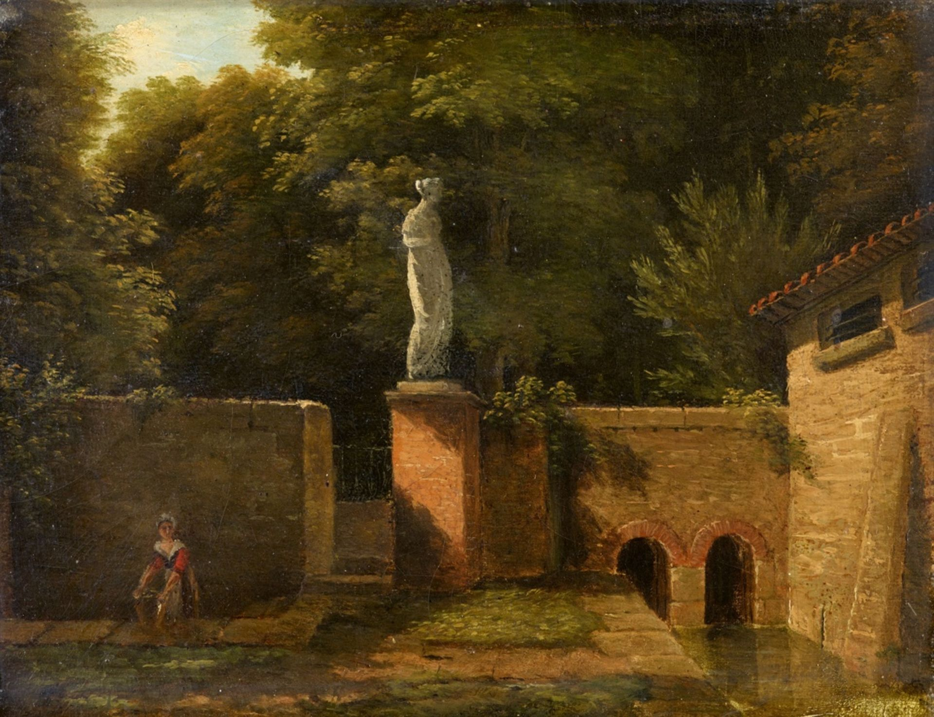 Los 2506 - Jean-Victor BertinView of a Park with Fountain and Marble SculptureOil on canvas. 16.5 x 22 cm.