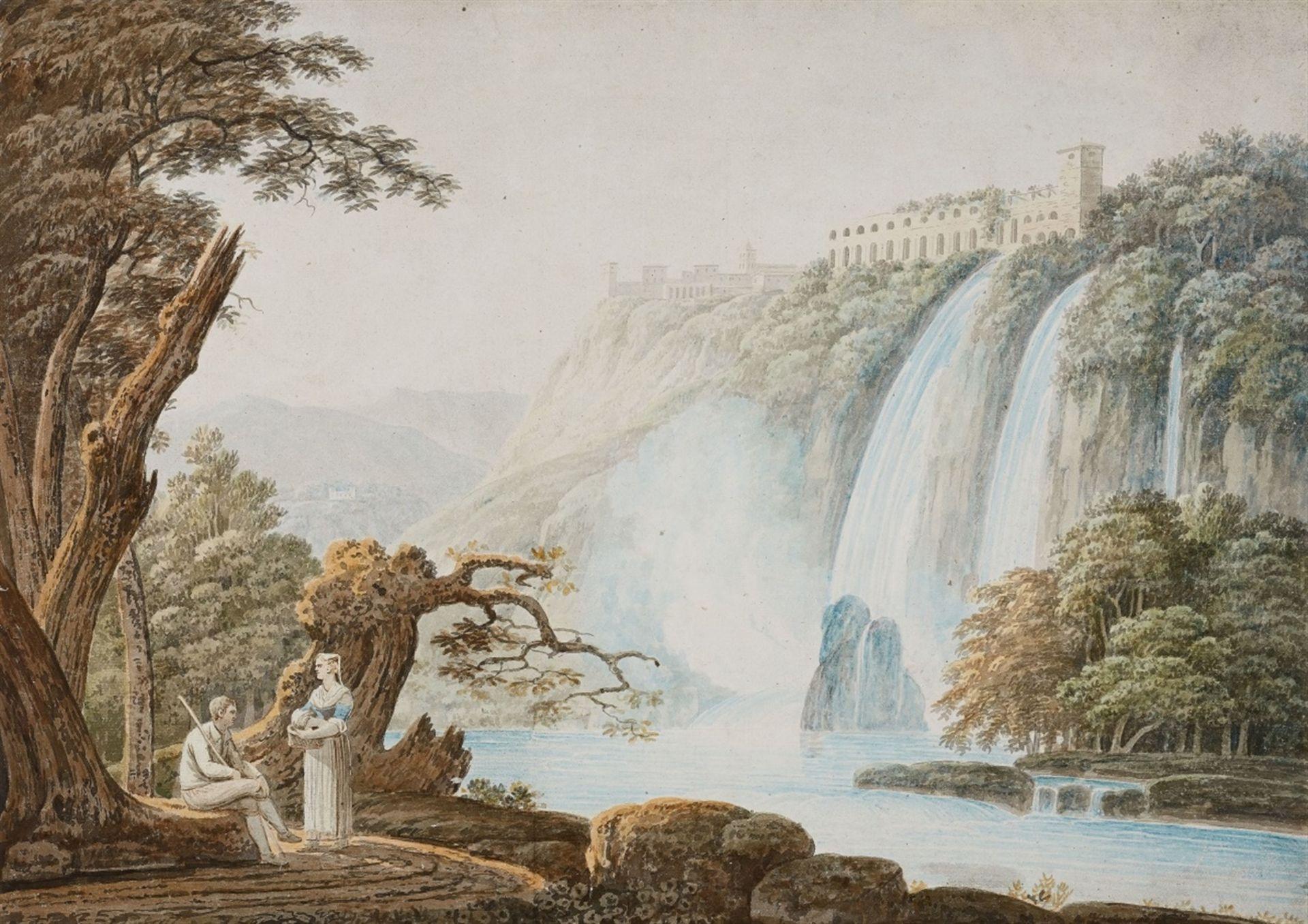 Los 2501 - Jacob MoreThe Villa of Maecenas and the Waterfalls at TivoliWatercolour on paper. 50.5 x 71 cm.
