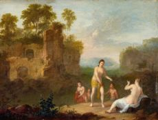 Cornelis van Poelenburgh, attributed toLandscape with NymphsOil on copper. 23 x 29.7 cm.