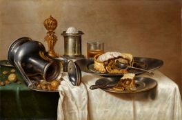 Cornelis MahuStill Life with a Pastry, Nuts, a Salt Dish, Pewter Plates, and a PitcherOil on panel..