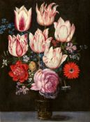 Philipp Marlier and workshop, attributed toFlower Still Life with Tulips in a Glass VaseOil on