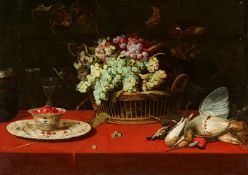 Frans SnydersStill Life with Grapes in a Basket, a Dish of Strawberries, and Game BirdsOil on