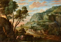 David Teniers the YoungerPanoramic Mountain Landscape with Pan and SyrinxOil on canvas (relined).