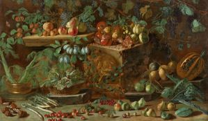 Pietro Paolo BonziLarge Still Life with Fruit and VegetablesOil on canvas (relined). 117 x 197 cm.