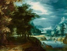 Paul Bril, circle ofForest Landscape with a View into the DistanceOil on panel. 42 x 55 cm.