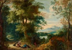 Flemish School 17th centuryLandscape with Pyramus and ThisbeOil on panel.. 24.5 x 35 cm..