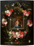 Jan Brueghel the YoungerPieter van AvontThe Virgin and Child in a Cartouche with FlowersOil on