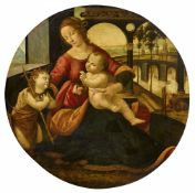 Tommaso di CrediThe Virgin and Child with Saint John the BaptistOil on wood. Diameter 86 cm..