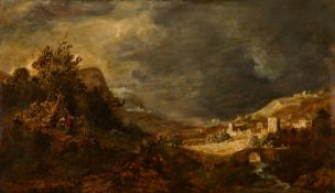 Govaert Flinck, attributed toLandscape with a Stone BridgeOil on wood. 26.4 x 46.5 cm.