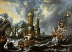 Bonaventura Peeters, attributed toShips in a Storm by a Rocky Coastline with a FortressOil on canvas