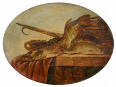 Pieter de PutterStill Life with Fish on a Wooden PlatterOil on panel.. 39 x 52 cm.Signed lower